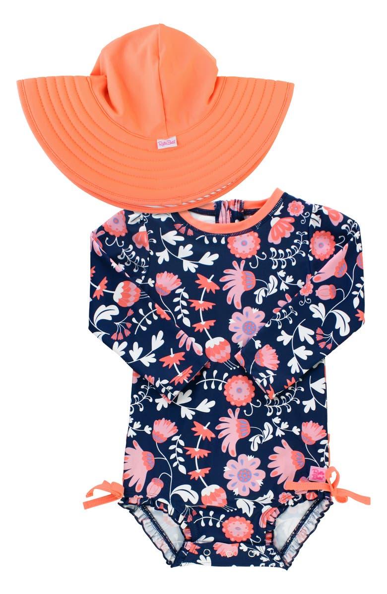 RUFFLEBUTTS Botanical One-Piece Rashguard Swimsuit & Hat Set, Main, color, NAVY