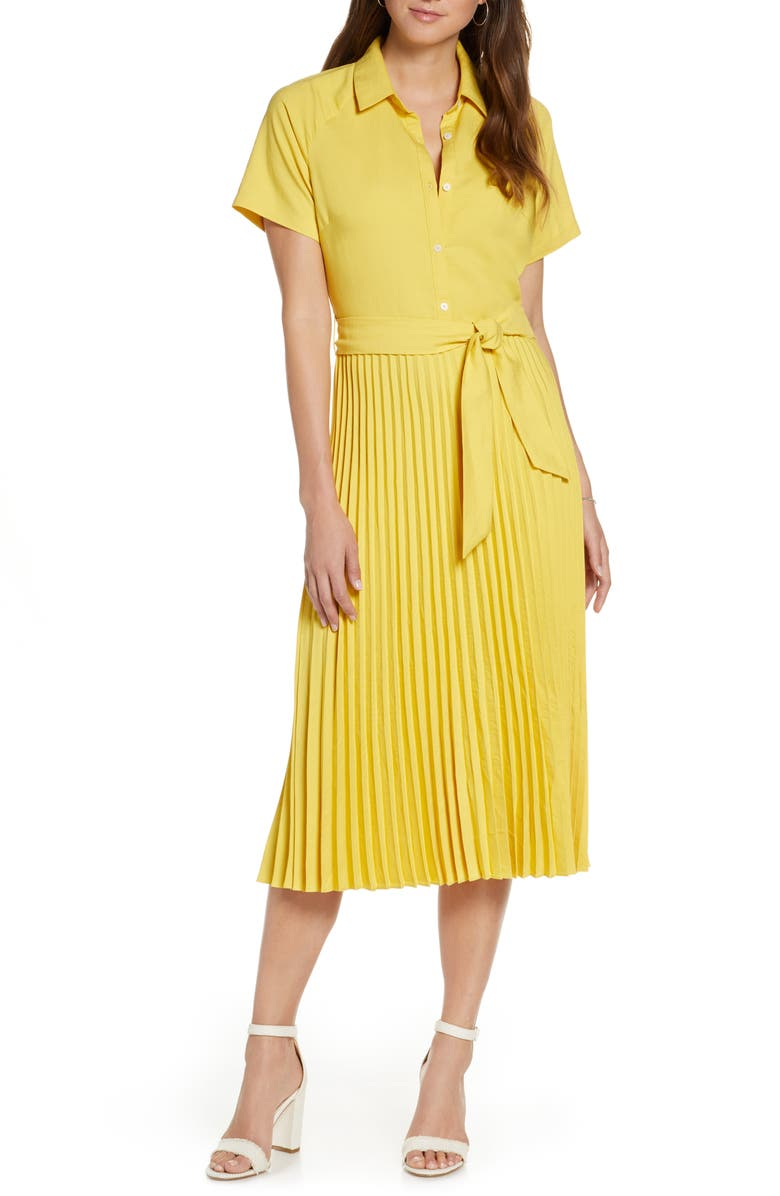 1901 Short Sleeve Pleated Shirtdress, Main, color, 720