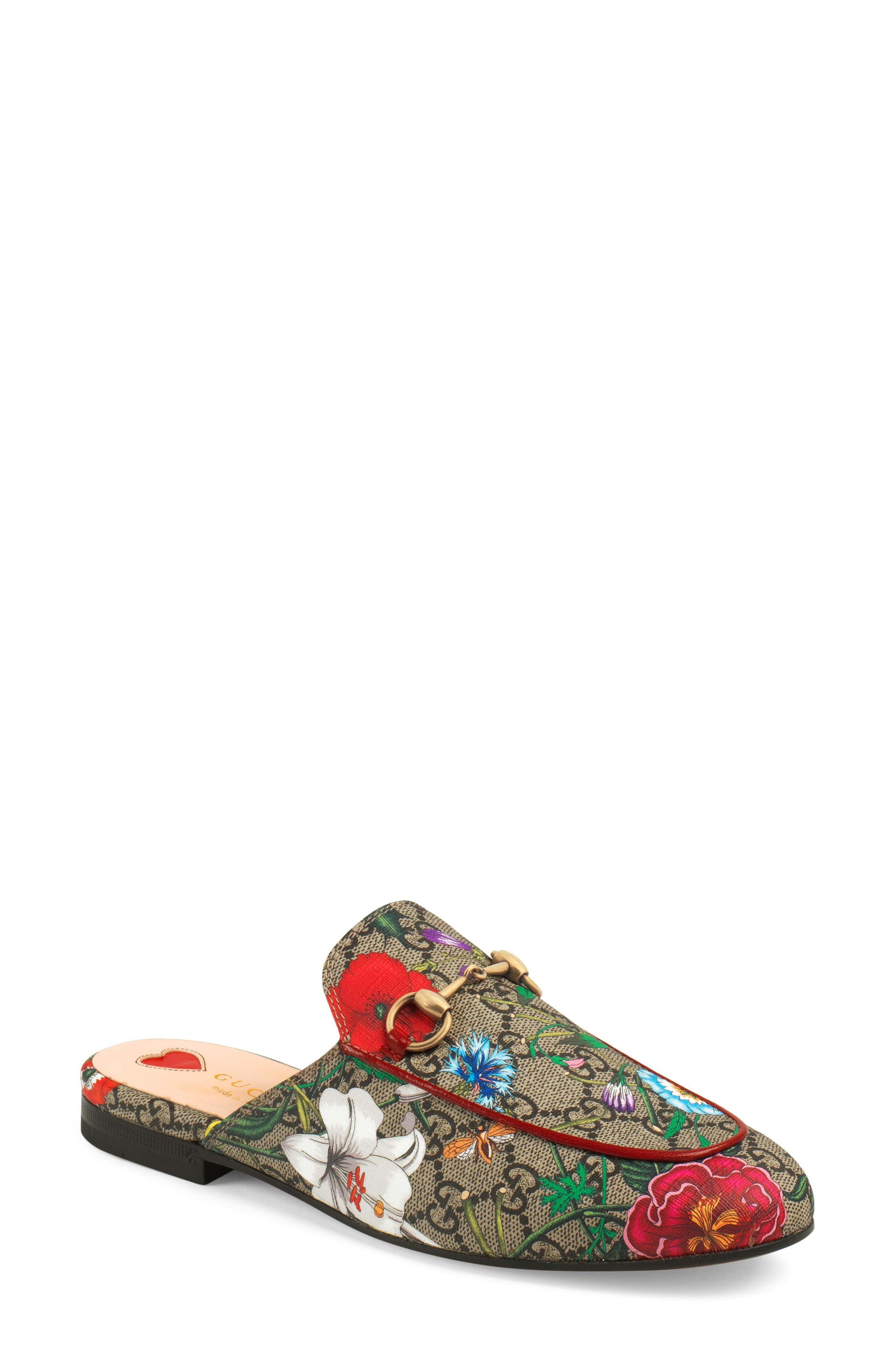 Gucci Princetown Floral GG Supreme Loafer Mule (Women)