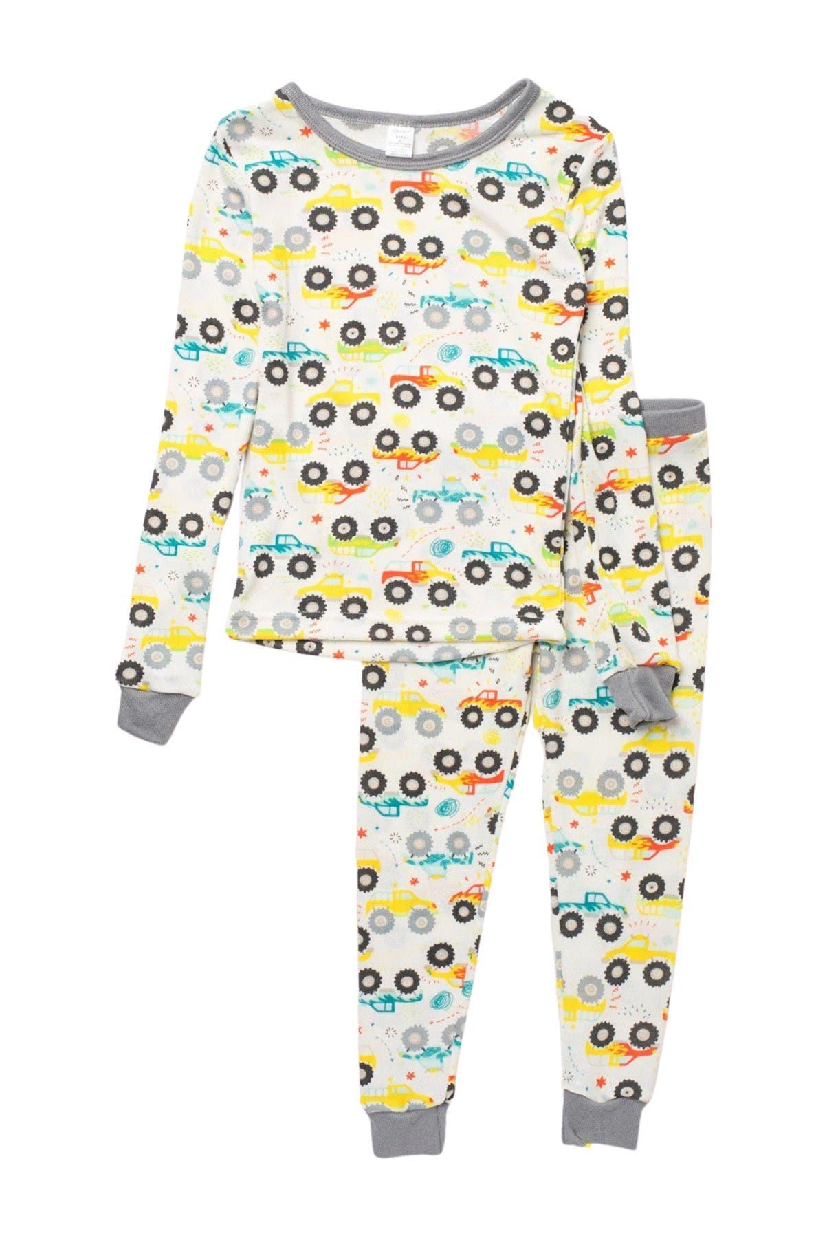 Image of MODERN KIDS Truck Print Long Sleeve Pajamas
