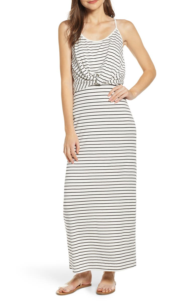 BP. Twist Front Stripe Maxi Dress, Main, color, 001