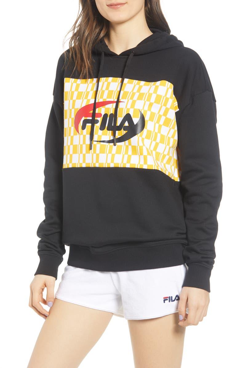 FILA Brianna Checkered Logo Hoodie, Main, color, 001