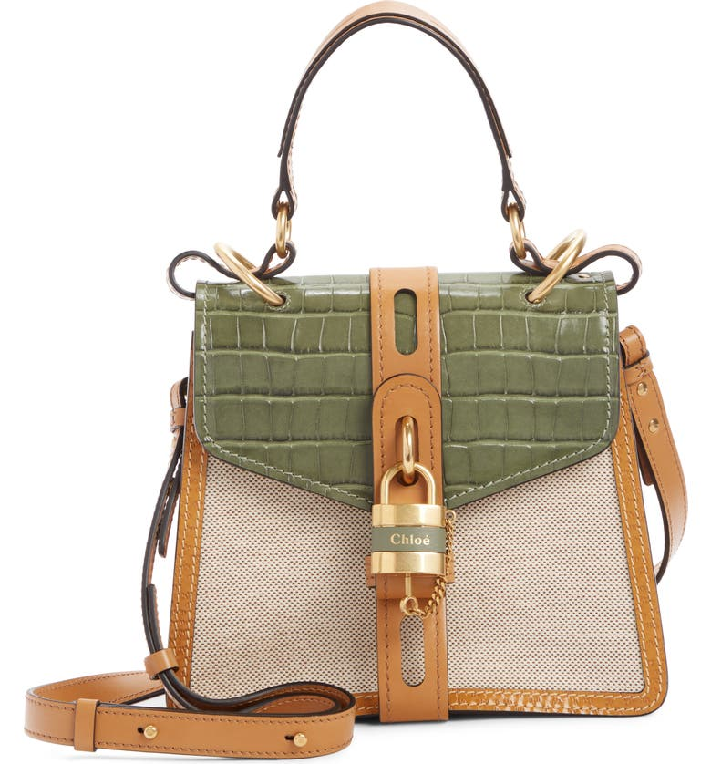 CHLOÉ Aby Small Day Canvas Shoulder Bag, Main, color, MISTY FOREST