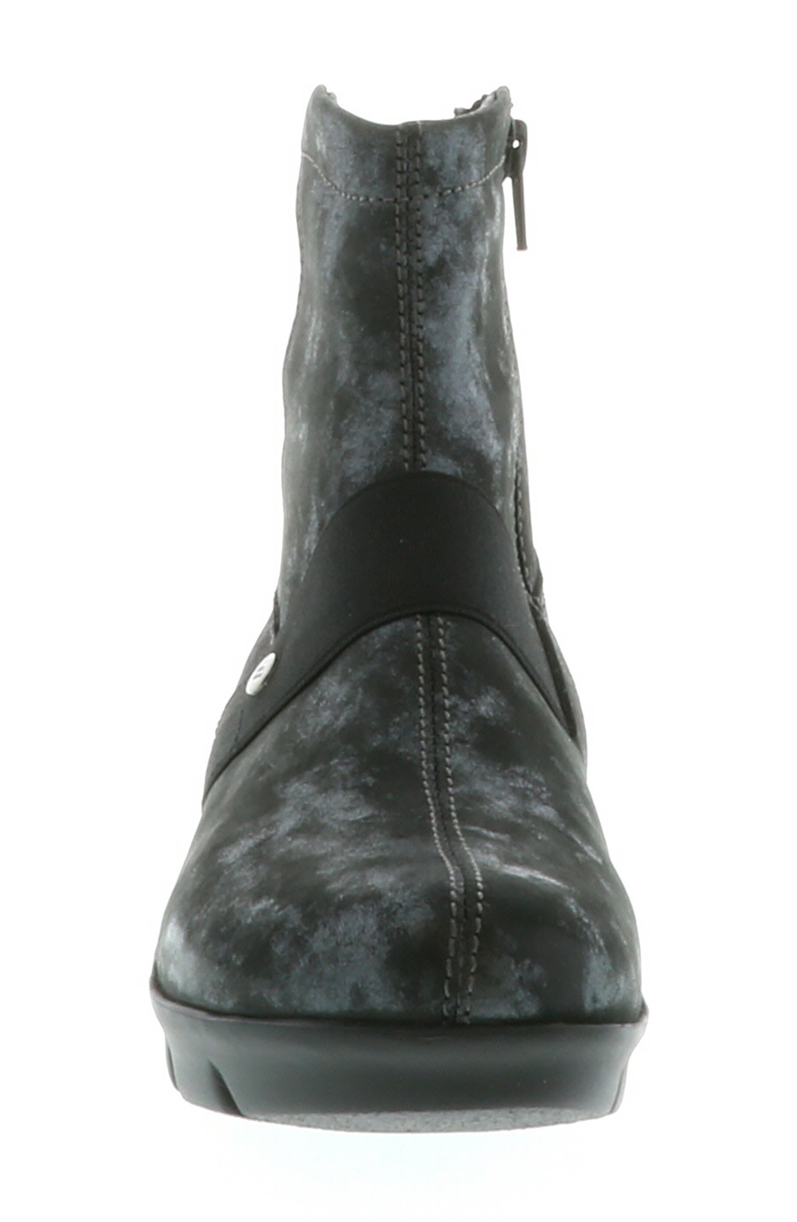 ,                             Omni Wedge Bootie,                             Alternate thumbnail 4, color,                             BLACK NUBUCK LEATHER