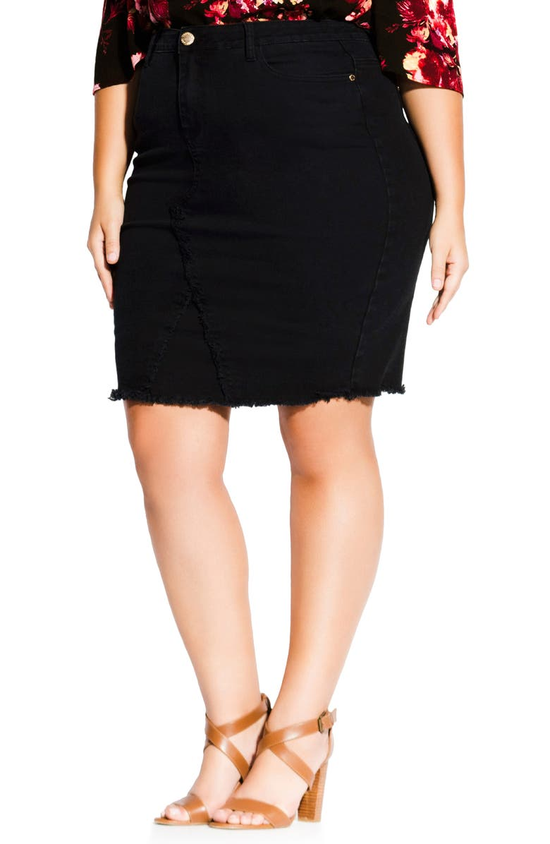 CITY CHIC Untaimed Denim Skirt, Main, color, BLACK