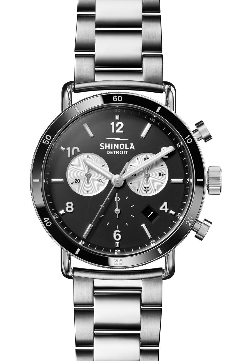 SHINOLA The Canfield Sport Chronograph Bracelet Watch, 40mm, Main, color, SILVER/ BLACK/ SILVER