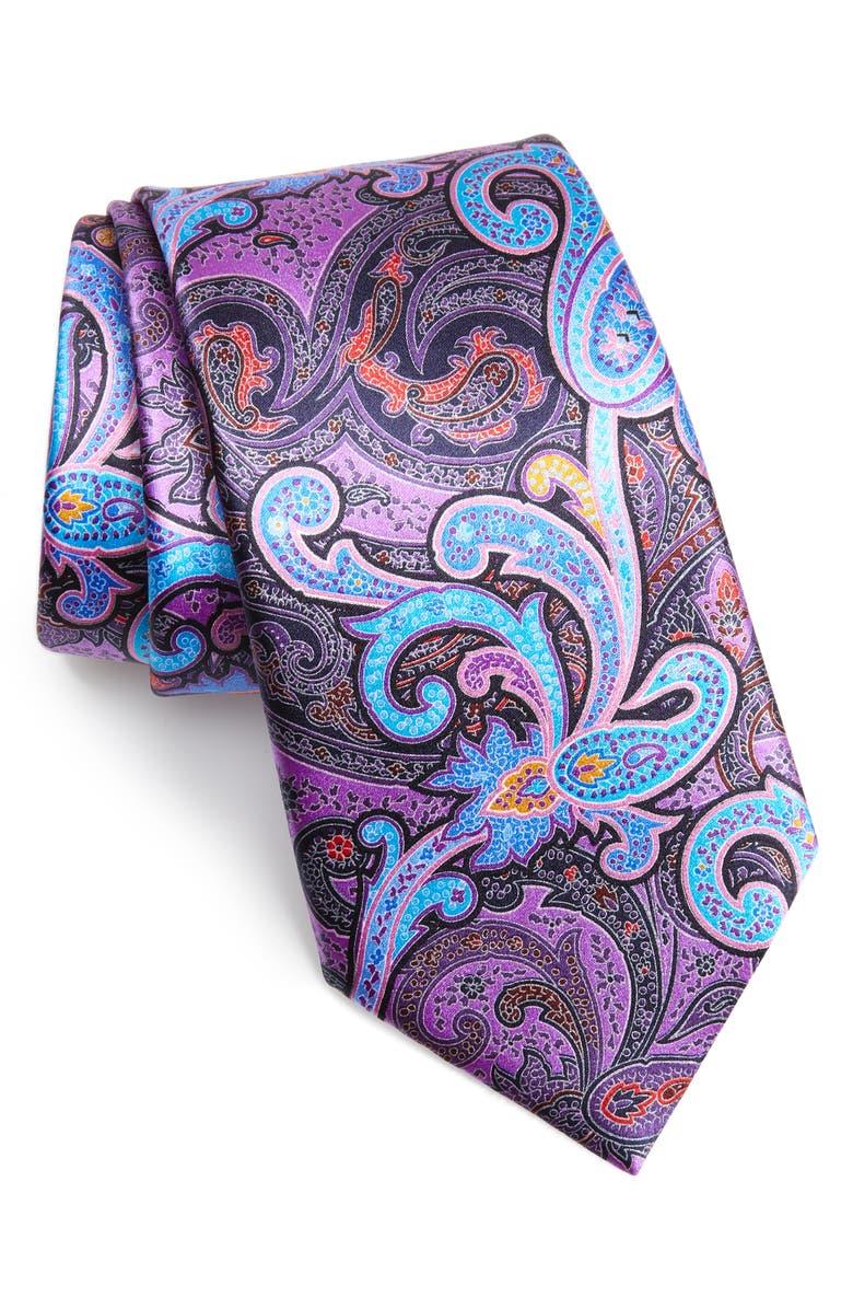 ERMENEGILDO ZEGNA Quindici Paisley Silk Tie, Main, color, BLUE