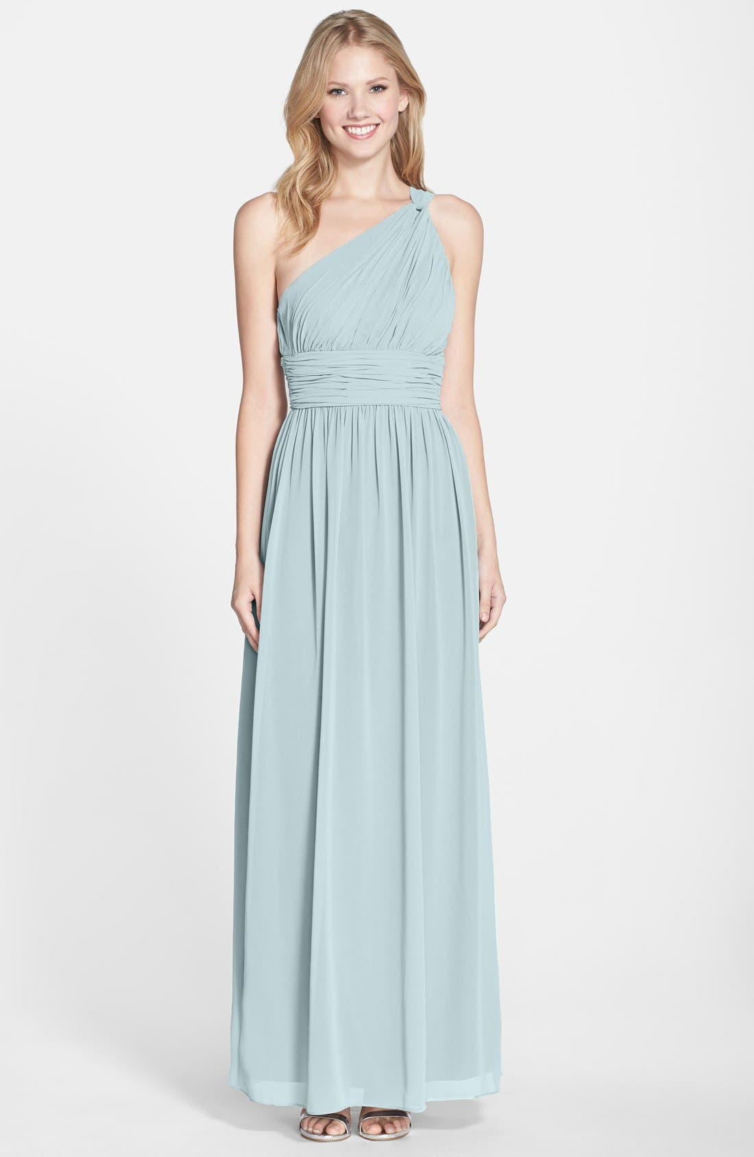 ,                             'Rachel' Ruched One-Shoulder Chiffon Gown,                             Main thumbnail 60, color,                             400