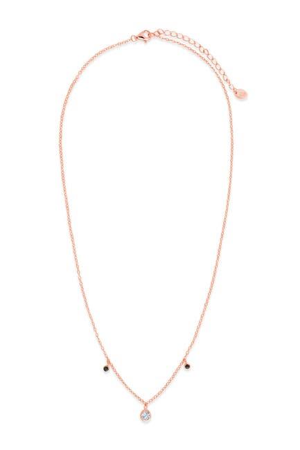 Image of Sterling Forever 14K Rose Gold Vermeil Plated Sterling Silver Black Enamel & CZ Charm Necklace