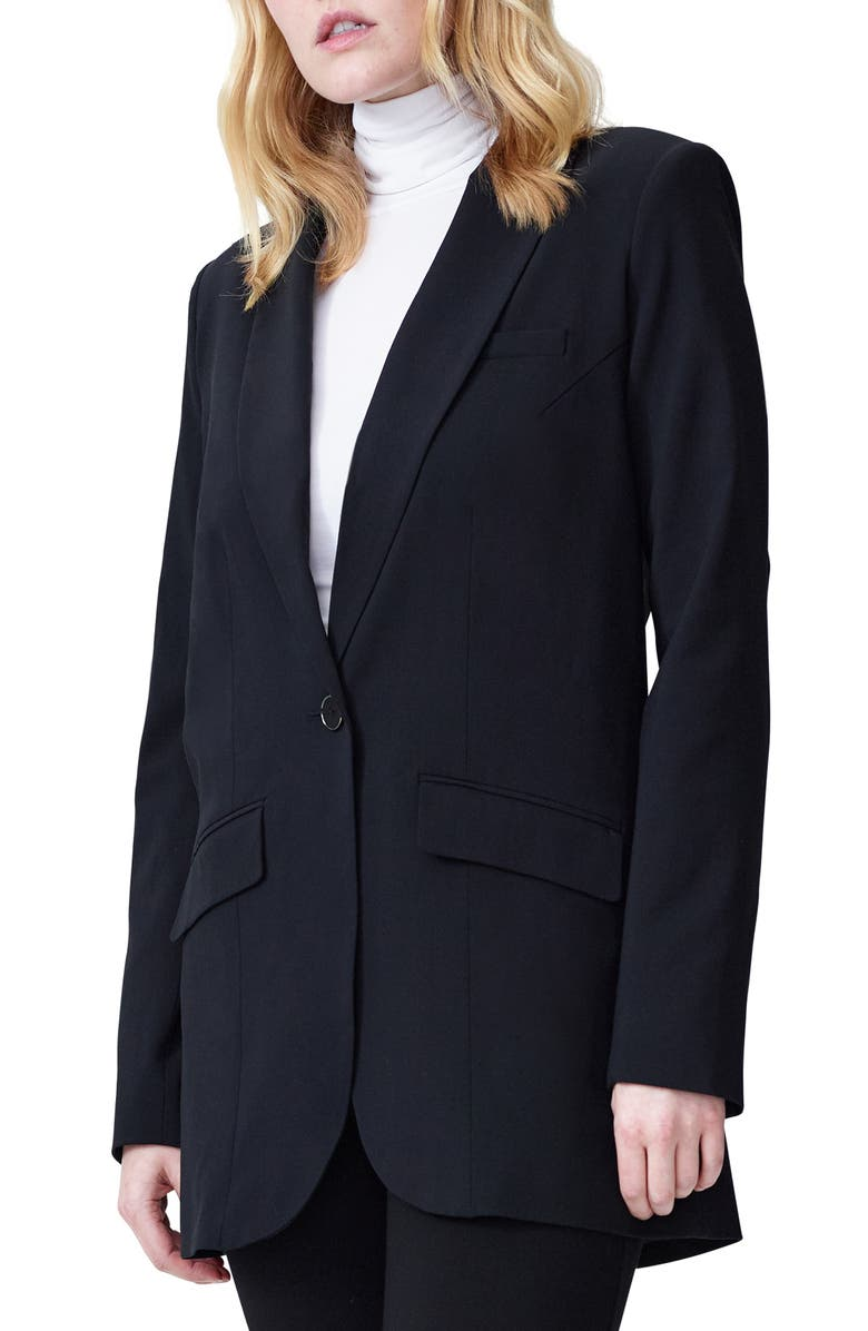 UNIVERSAL STANDARD Rio Stretch Wool Blazer, Main, color, BLACK