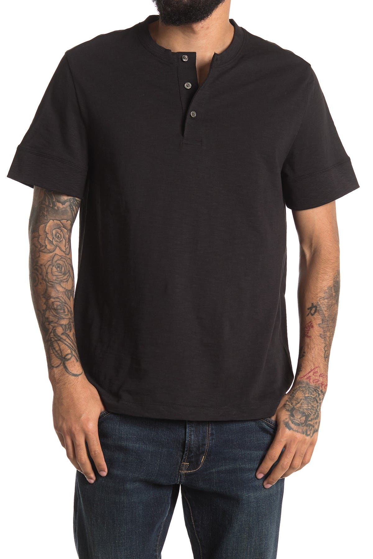 Image of DKNY Short Sleeve Henley Tee