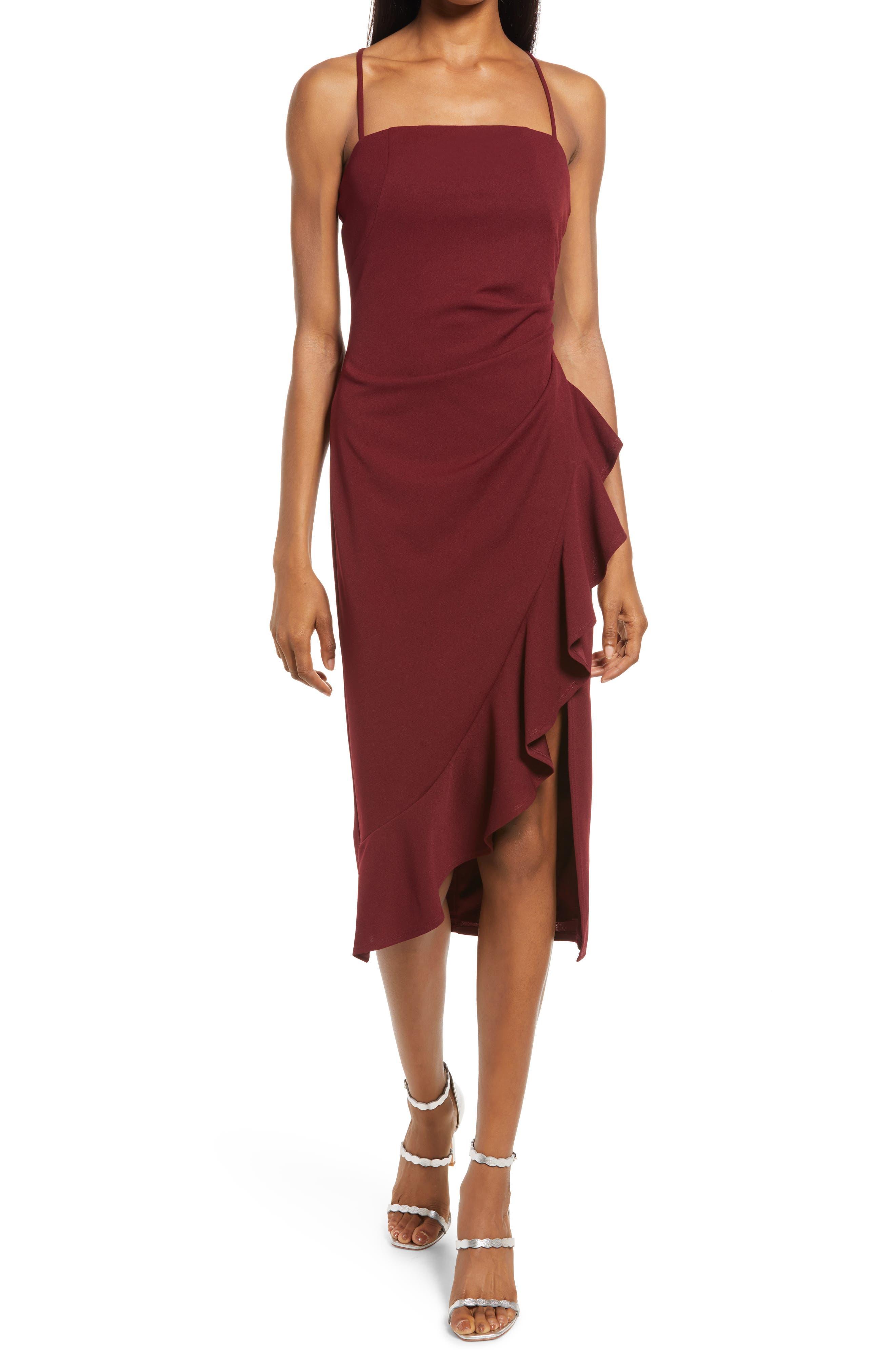 Square Neck Side Ruffle Midi Dress