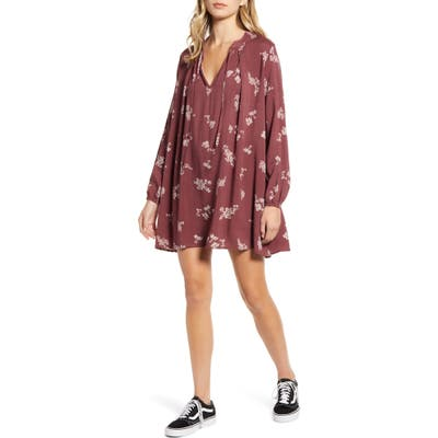 Lira Clothing Gemma Tie Neck Long Sleeve Minidress, Burgundy