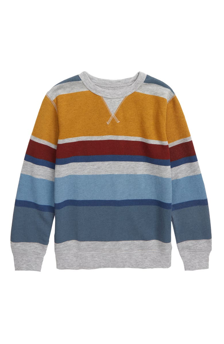 TUCKER + TATE B.Y.O. Stripe Fleece Sweatshirt, Main, color, GREY ASH HEATHER MULTI STRIPE
