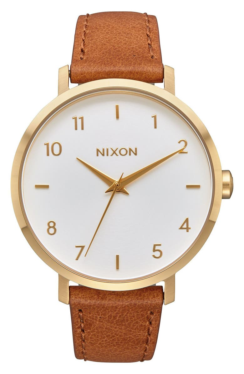 NIXON The Arrow Leather Strap Watch, 38mm, Main, color, SADDLE/ WHITE/ GOLD