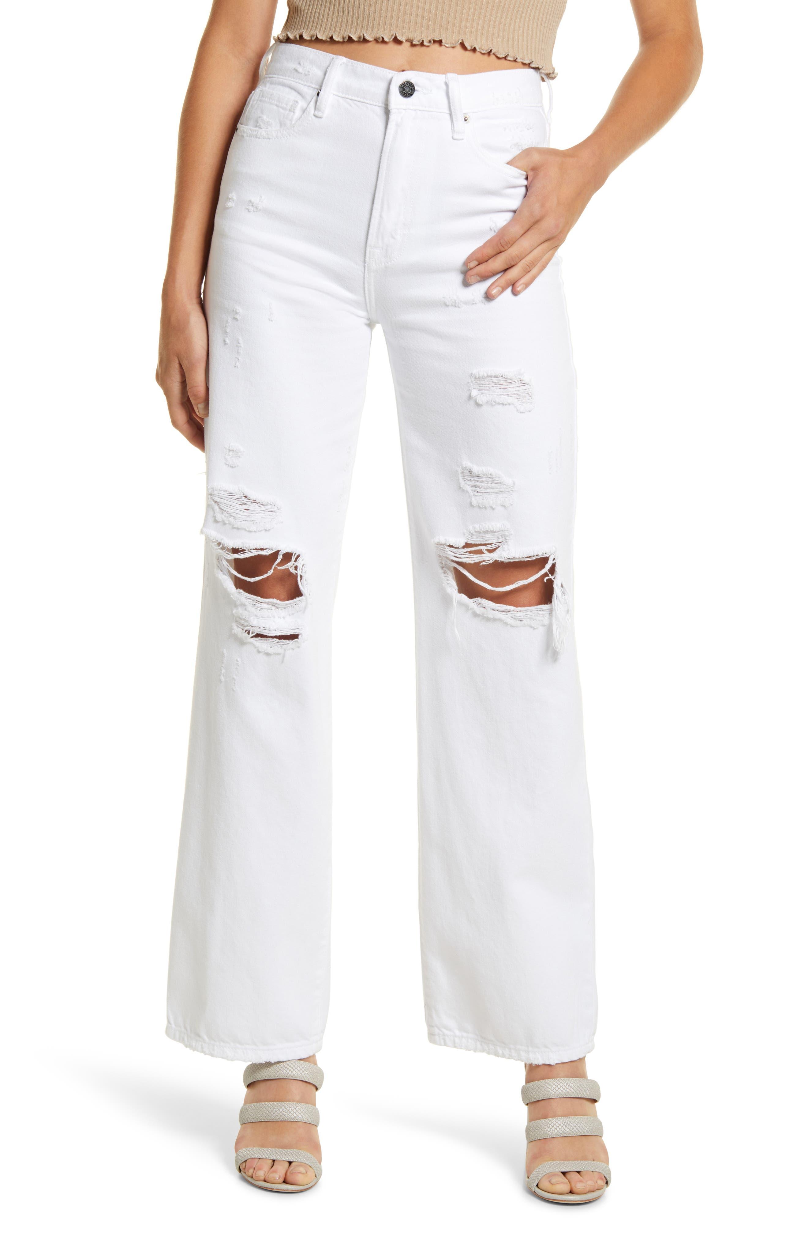 Distressed High Waist Wide Leg Jeans