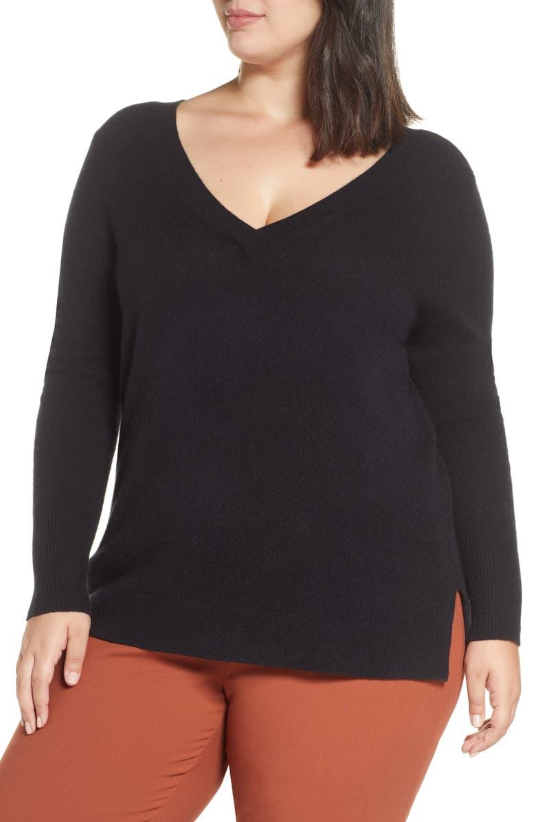 HALOGEN<SUP>®</SUP> V-Neck Cashmere Sweater, Main, color, BLACK