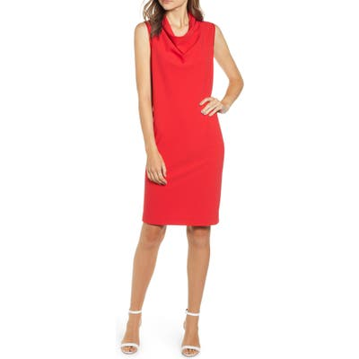 Anne Klein Cowl Neck Crepe Sheath Dress, Red