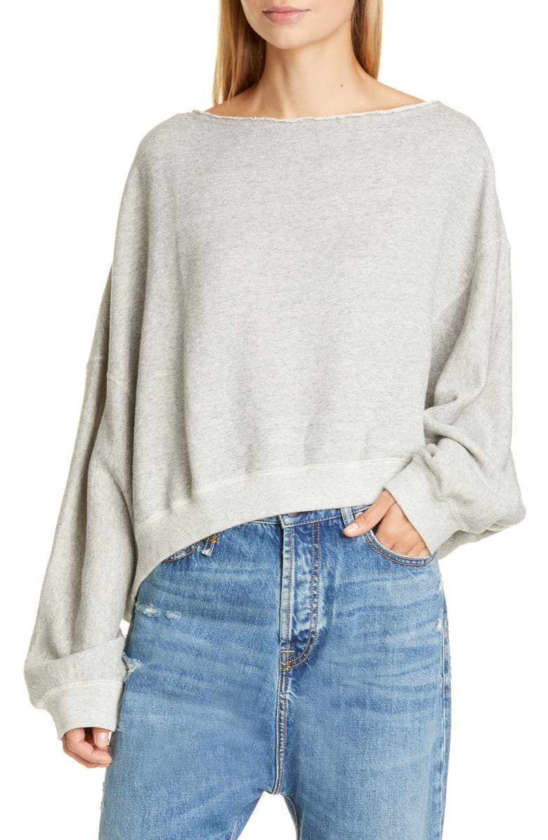 R13 Patti Wide Neck Sweatshirt, Main, color, HEATHER GREY