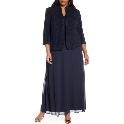 Plus Size Alex Evenings Lace & Chiffon Gown With Jacket, Blue