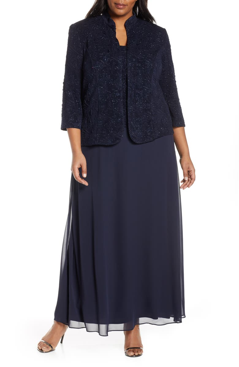 ALEX EVENINGS Mock Two-Piece Gown with Jacket, Main, color, NAVY