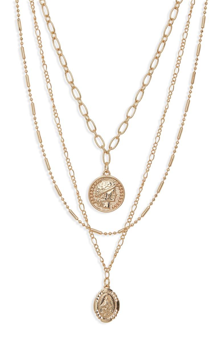 BP. Set of 2 Medallion Necklaces, Main, color, 710