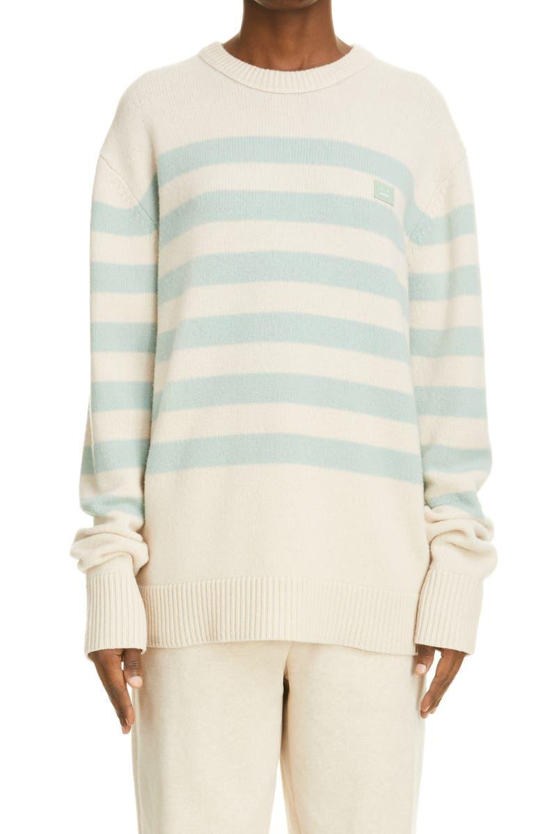 ACNE STUDIOS Nimah Stripe Face Patch Wool Sweater, Main, color, BEIGE/ GREEN