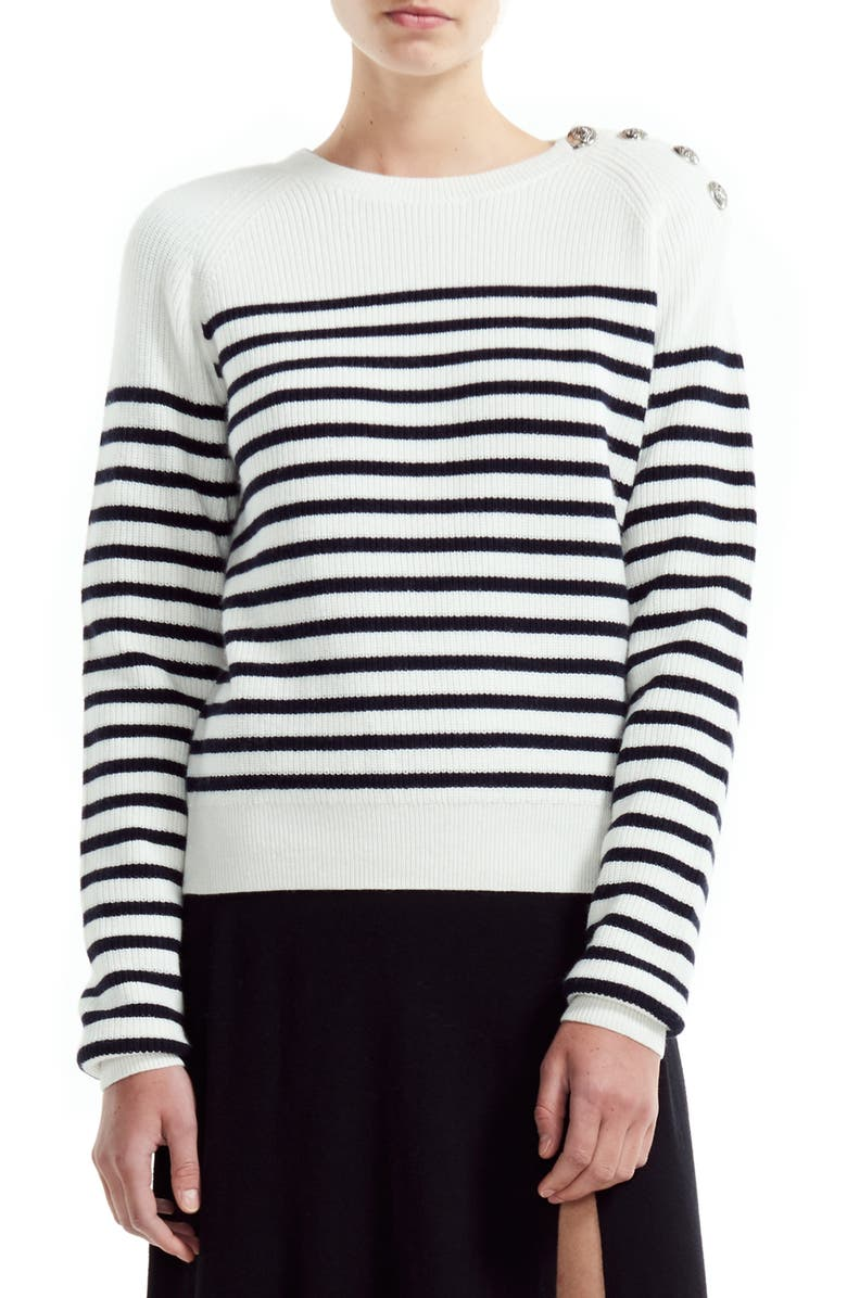 MAJE Marin Stripe Button Detail Cotton & Wool Blend Sweater, Main, color, ECRU