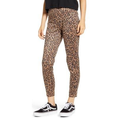 Tinsel Leopard Print High Waist Leggings, Brown