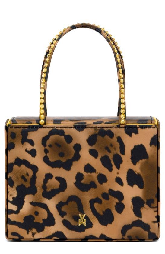 Amina Muaddi Superamini Gilda Leopard Print Top Handle Bag In Leopard Light Topaz Crystals