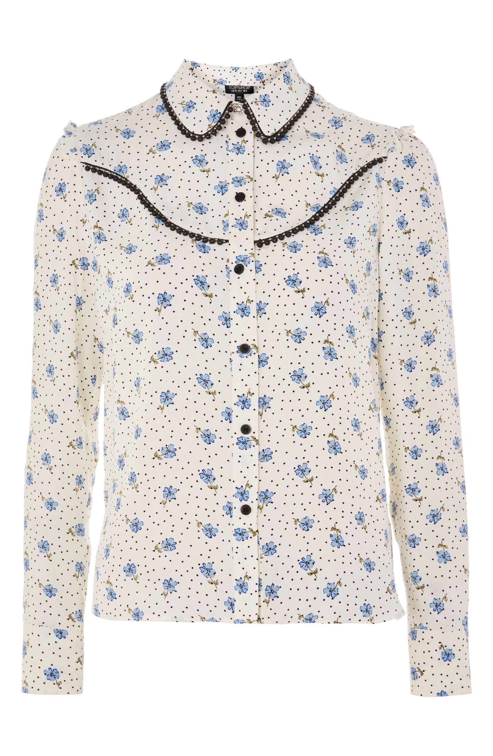 57e07f2507c692 Topshop Rodeo Embellished Floral Spot Shirt | Nordstrom
