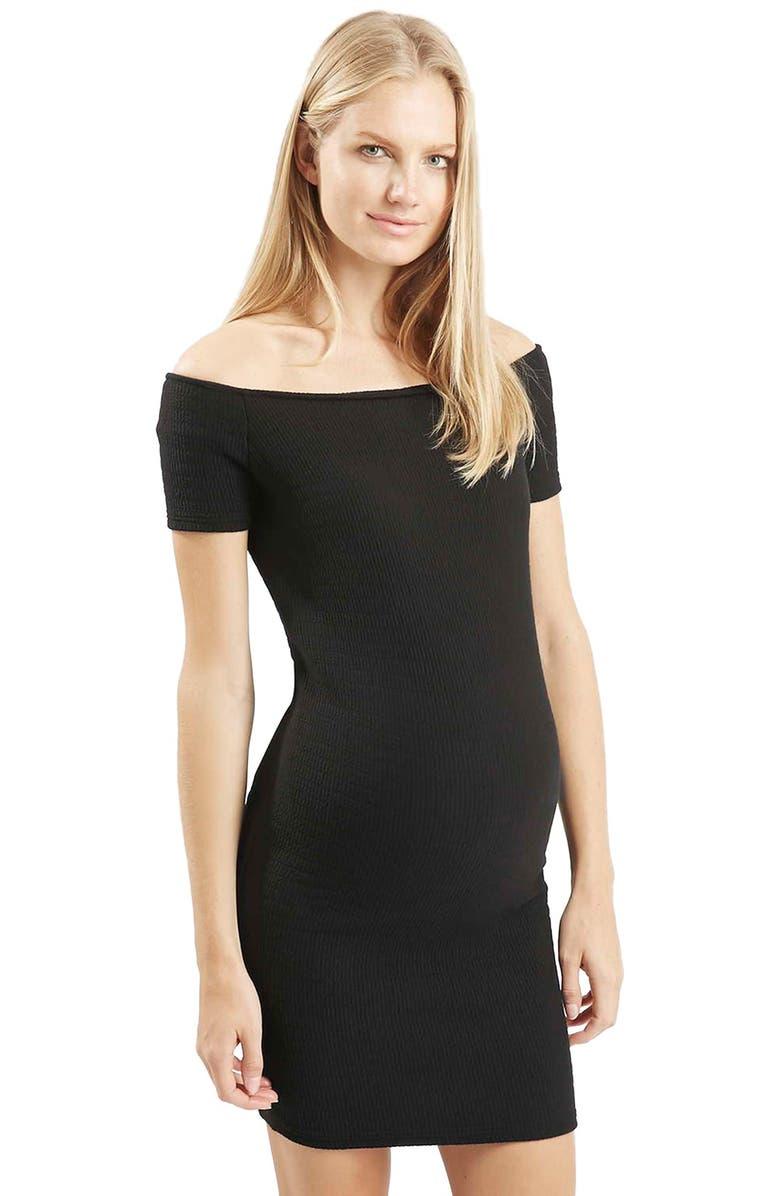 f46bcbfbd51b2 Topshop Ribbed Off the Shoulder Maternity Dress | Nordstrom