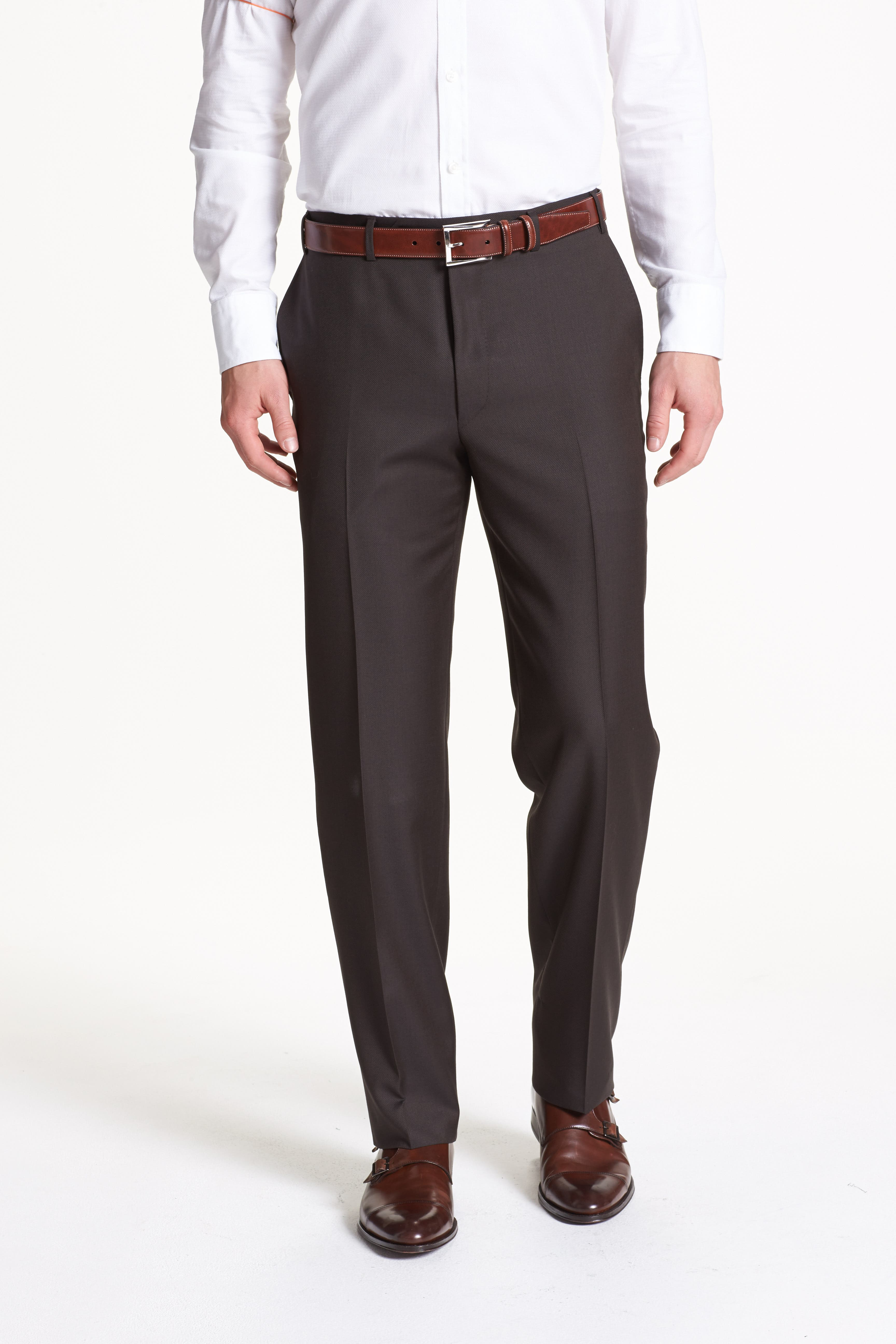 Flat Front Solid Wool Trousers, Main, color, DARK BROWN