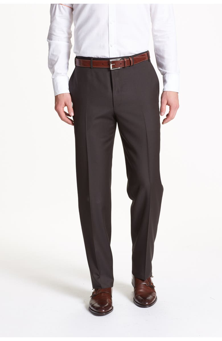 CANALI Flat Front Solid Wool Dress Pants, Main, color, DARK BROWN