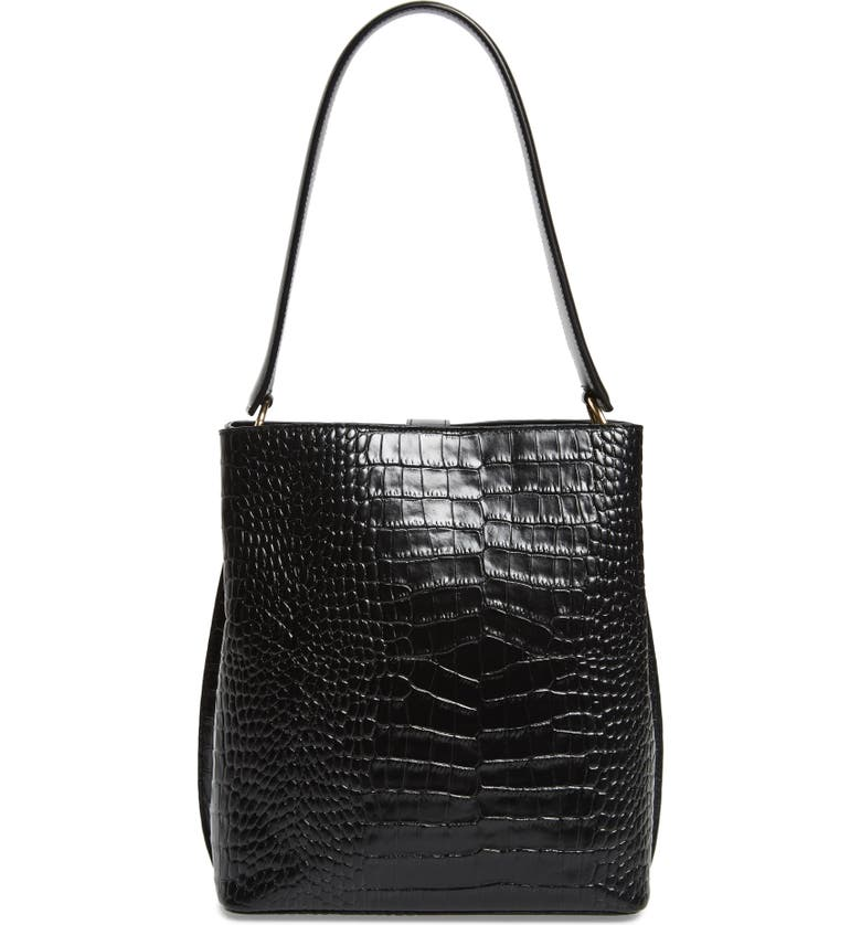 NORDSTROM Laura Croc Embossed Leather Tote, Main, color, BLACK