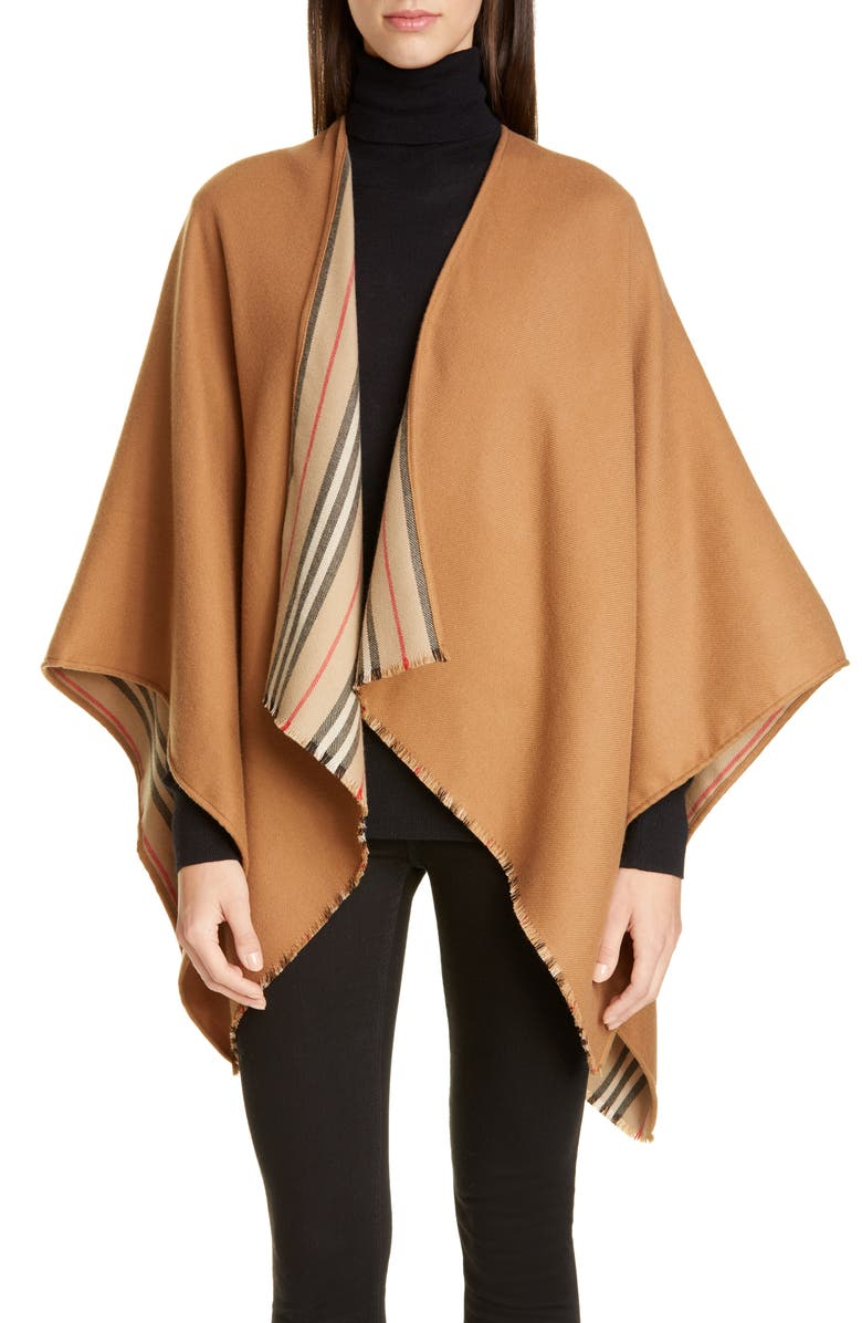 BURBERRY Icon Stripe Reversible Wool Cape, Main, color, FLAXSEED