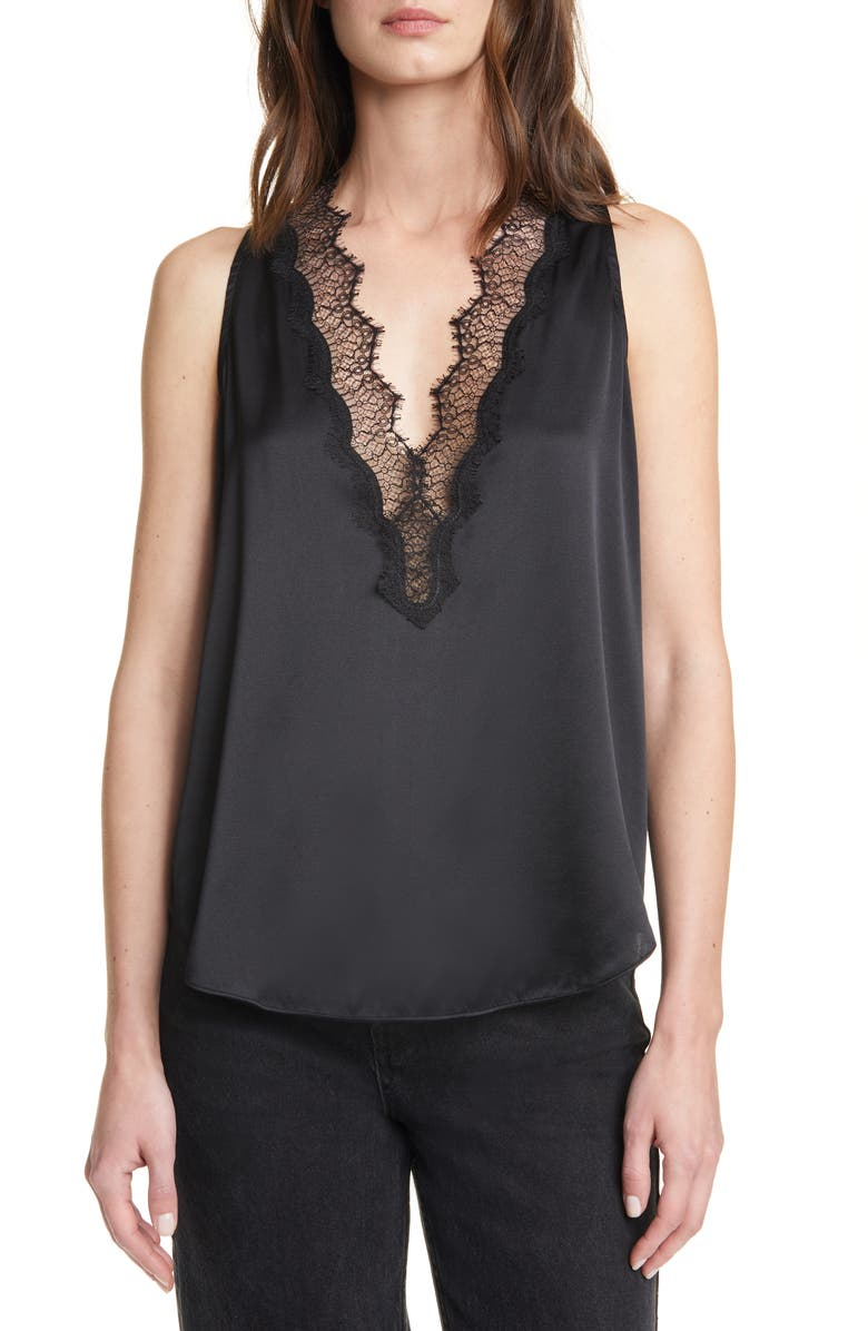 A.L.C. Delilah Lace Trim Stretch Silk Satin Top, Main, color, 010