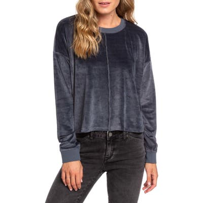 Roxy Crystal Cove Crop Velour Pullover, Blue