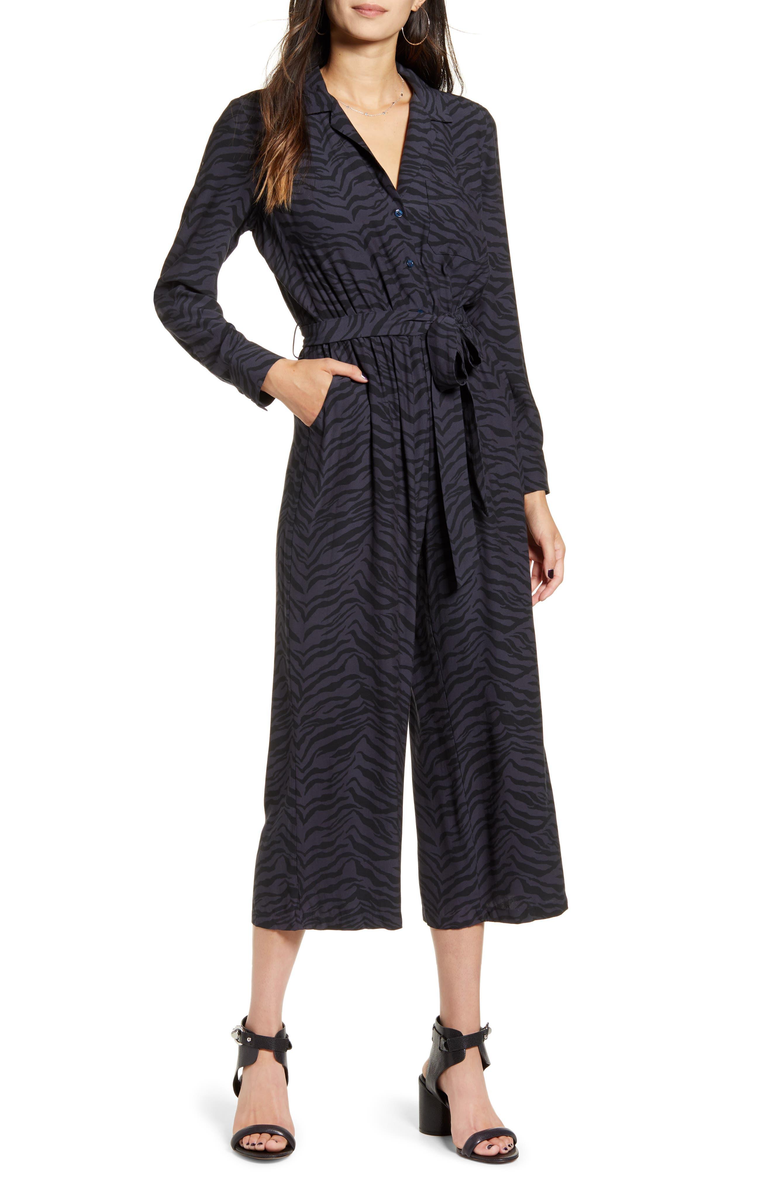 Image of Rails Callan Animal Print Long Sleeve Crop Jumpsuit