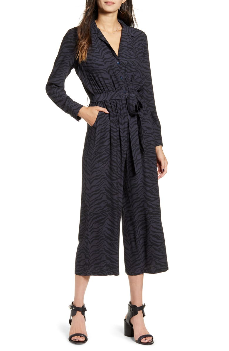 RAILS Callan Animal Print Long Sleeve Crop Jumpsuit, Main, color, 020
