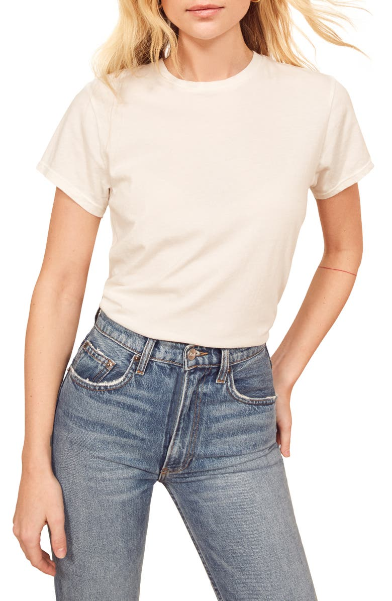 REFORMATION Perfect Vintage Organic Cotton Tee, Main, color, WHITE