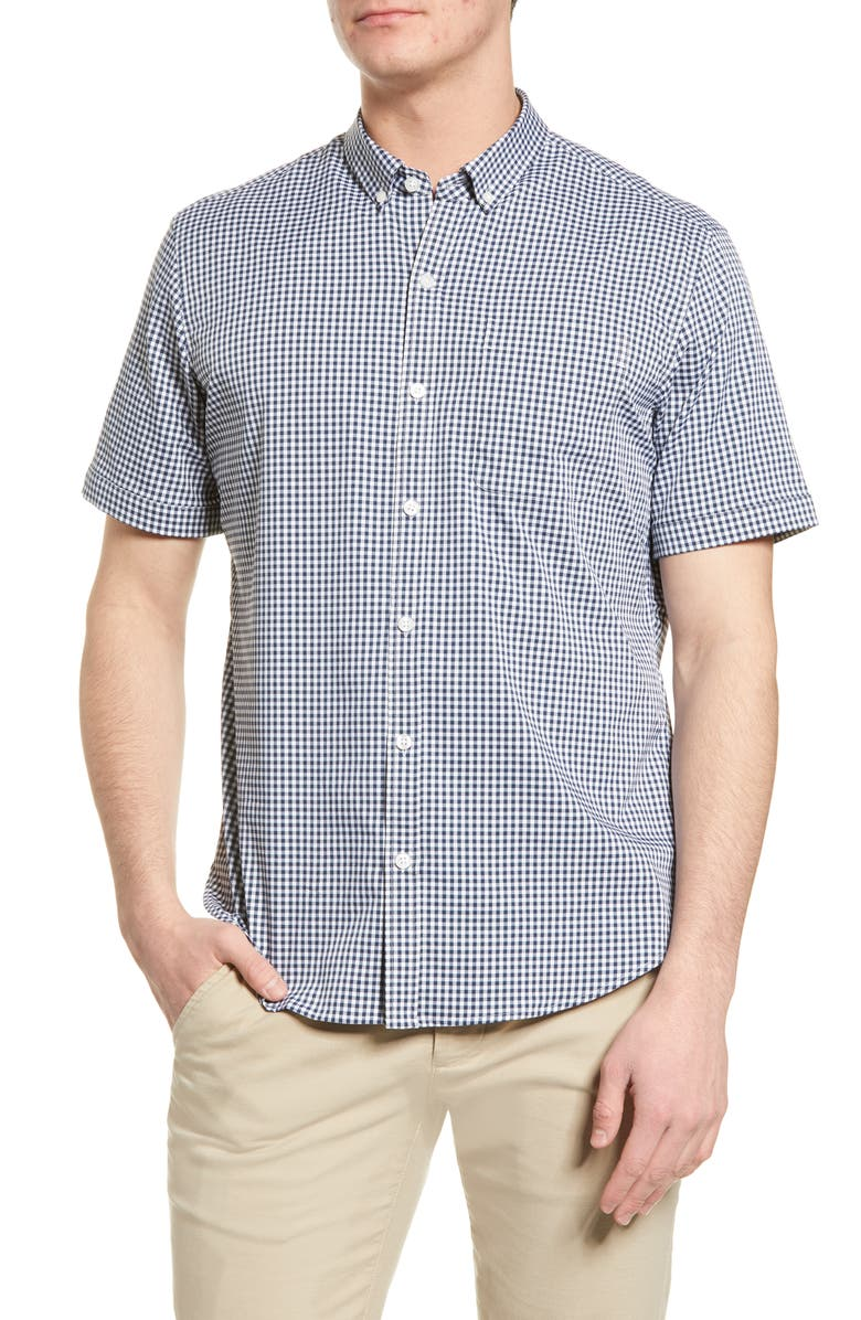 TOMMY JOHN Go Anywhere Gingham Short Sleeve Button-Up Performance Shirt, Main, color, DRESS BLUES SMALL GINGHAM