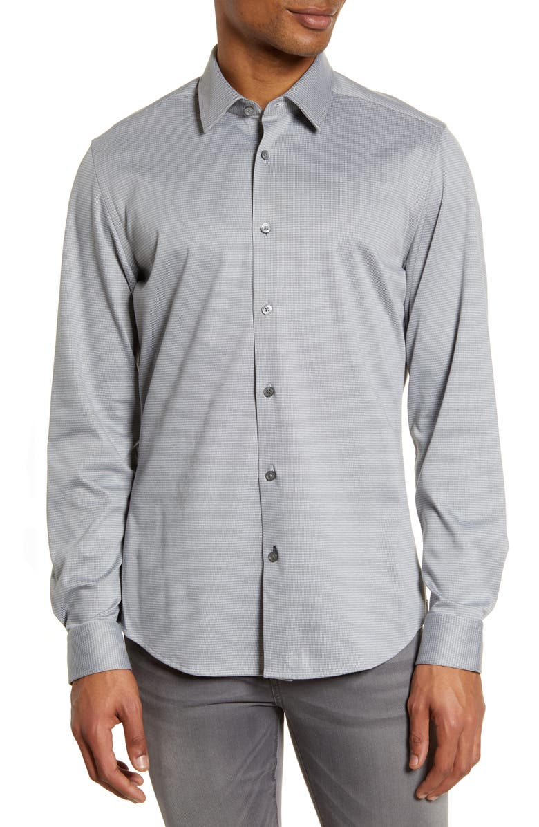 BOSS Lukas Regular Fit Button-Up Shirt, Main, color, MEDIUM GREY