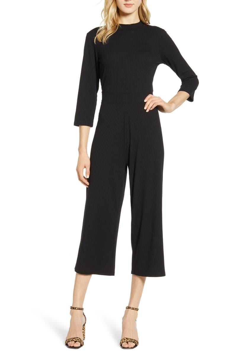 BOBEAU Ribbbed Knit Crop Jumpsuit, Main, color, BLACK