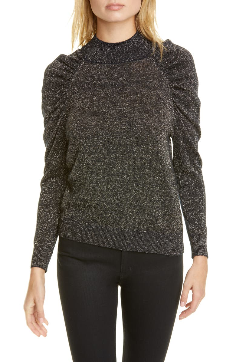 JOIE Artima Metallic Detail Ruched Sleeve Wool Blend Sweater, Main, color, 410