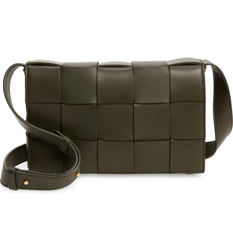 BOTTEGA VENETA Cassette Intrecciato Leather Crossbody Bag, Main, color, CAMPING-GOLD