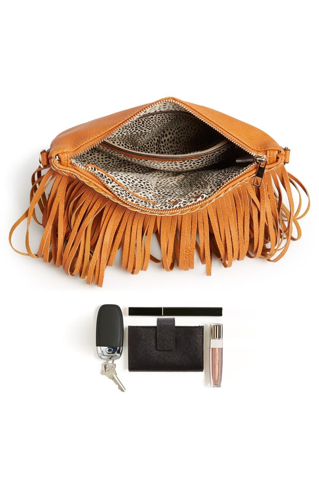 ,                             'Rose' Fringe Faux Leather Convertible Crossbody Bag,                             Alternate thumbnail 8, color,                             200
