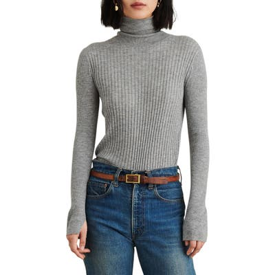 Alex Mill Multi Rib Wool Blend Turtleneck Sweater, Grey