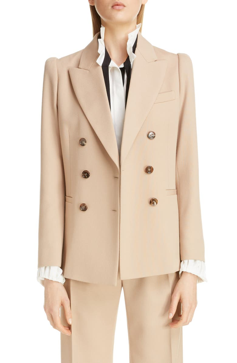 CHLOÉ Double Breasted Stretch Wool Blazer, Main, color, SOFT TAN