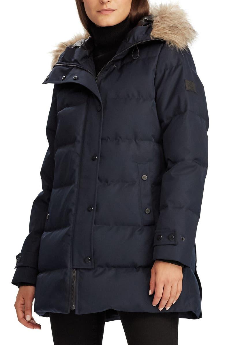 LAUREN RALPH LAUREN Hooded Down & Feather Fill Puffer Coat, Main, color, NAVY